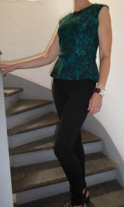 Ann Taylor black and teal lace peplum top