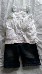 Kids white cotton top and long denim shorts from Scope, Beckenham