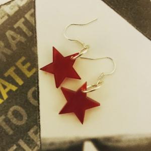 Handmade red star earrings