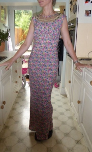 Leana Richfield Fashion Co Ltd full length floral bias cut dress with lace detail, £7.50 from St Elizabeth Hospice